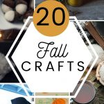 A collage of fall crafts with candles, and knitted scarved and text overlay.
