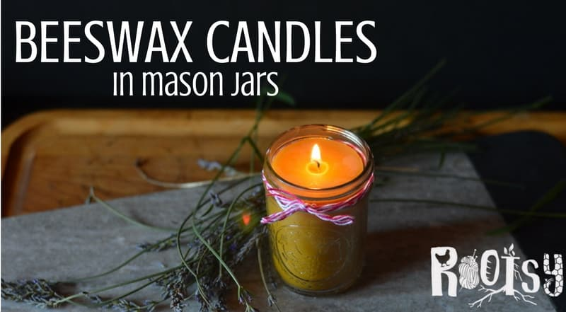 Beeswax candles made in mason jars are attractive and add beauty anywhere they are used. Jar candles are an easy candle craft for beginners to make | Rootsy.org