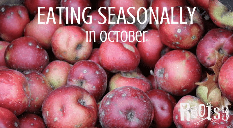 Eating seasonally in October is a mash up of summer crops and cool weather favorites such harvests as broccoli, pumpkins, apples, and persimmons. | Rootsy