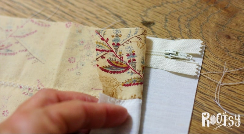 photo of sewing zippered pouch