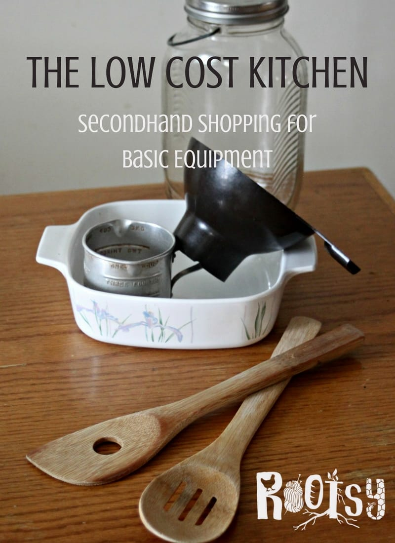 Create an efficient and low cost kitchen by taking advantage of price breaks found by secondhand shopping at thrift shops and yard sales |Rootsy.org
