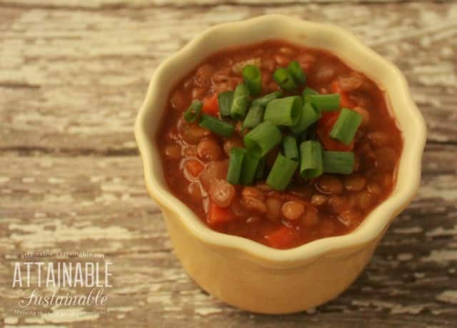 Sausage Lentil Soup recipe from Attainable Sustainable