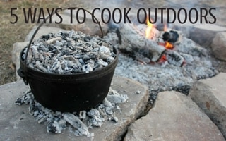 Be prepared for any emergency when you set up systems to cook outdoors. Here are five easy ways - solar ovens, rocket stoves, bread ovens, grills, and Dutch ovens - to prepare nutritious meals for your family, even in a power outage. | Rootsy