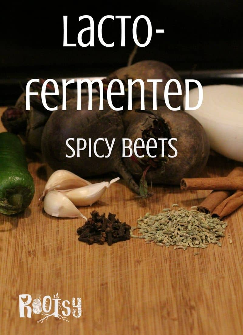 image of beets, garlic, onion, peppers, cinnamon and other spices to make spicy fermented beets