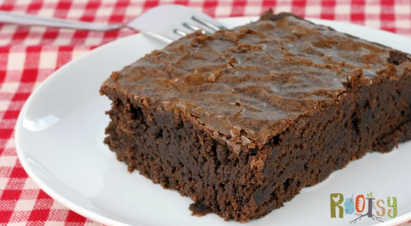 image of brownie on white plate