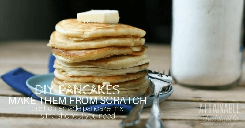 image of pancakes stacked on blue plate