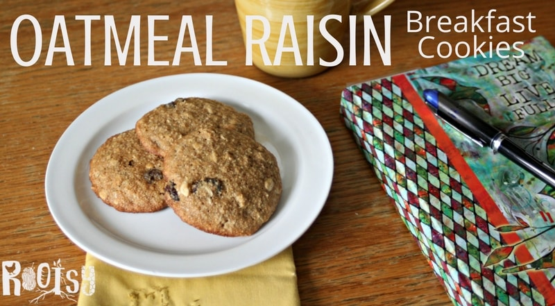 Bake and freeze these oatmeal raisin breakfast cookies for quick morning meals. Full of natural and filling whole grains, fiber, fruit and nuts they are sure to be a filling meal on even the busiest mornings | Rootsy.org
