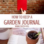 A hand holding a red book in front of a brick wall, sitting on top of a white box of text reading: how to keep a garden journal, sitting on top of an image of a book with a small pot sitting on top of it.