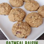 Cookies on a white plate as seen from above with text overlay stating: oatmeal breakfast cookies.