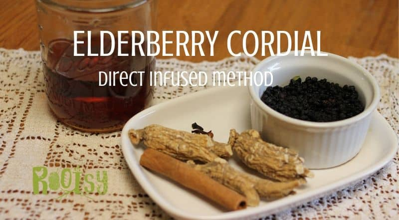 herbs on white plate and brandy for making elderberry cordial
