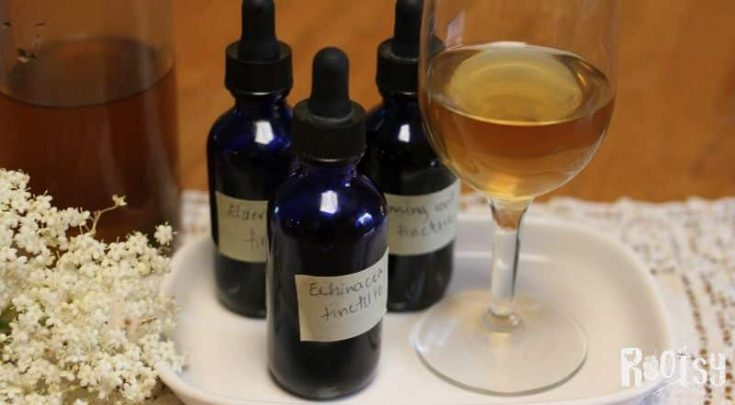 simple syrup jar and glass with herbal tinctures for elderberry cordial