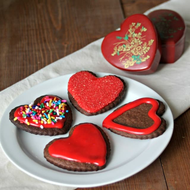 Chocolate sugar cookie hearts on a plate photograph