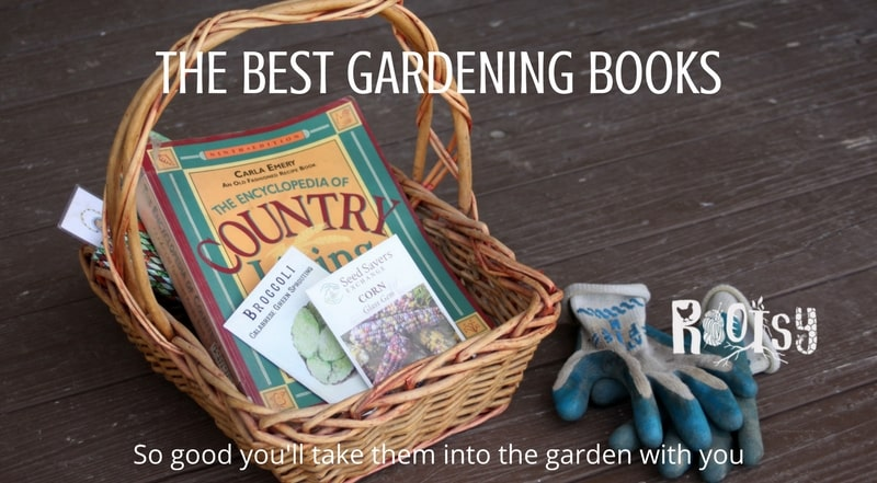 Gardening books in a basket. Fill your home library with gardening books that are educational and inspiring with this collection so wonderful that you'll be bringing them into the garden with you for abundant harvests all season long | Rootsy.org
