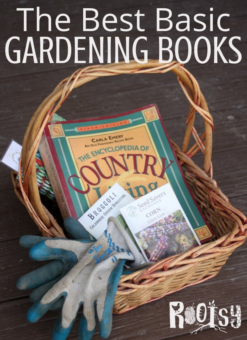 Gardening books in a basket with seeds. Fill your home library with gardening books that are educational and inspiring with this collection so wonderful that you'll be bringing them into the garden with you for abundant harvests all season long | Rootsy.org