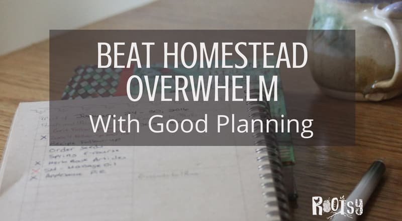 Planner with cup of tea. Take charge of your passions and chores while beating homestead overwhelm with good planning and organization designed for the way you think.