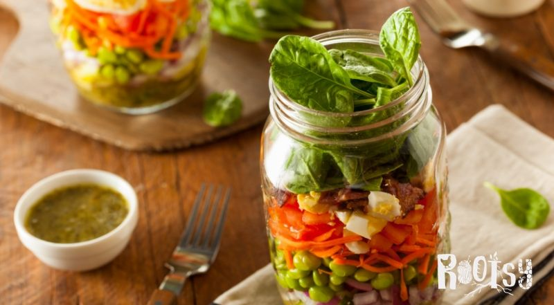 image of salads in mason jars