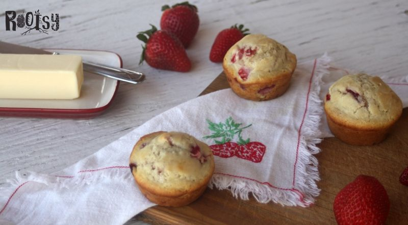 image of strawberry muffins on table