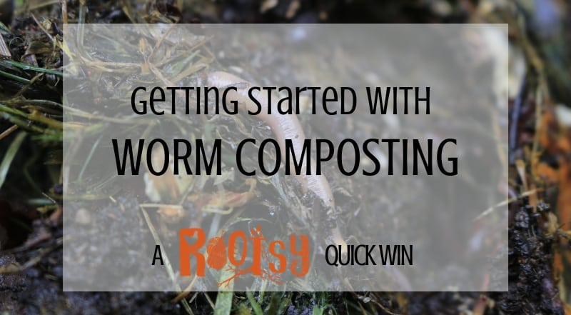 Getting started with Worm Composting Text over worms in soil