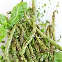 Quick sauteed green beans and peas with mint and basil
