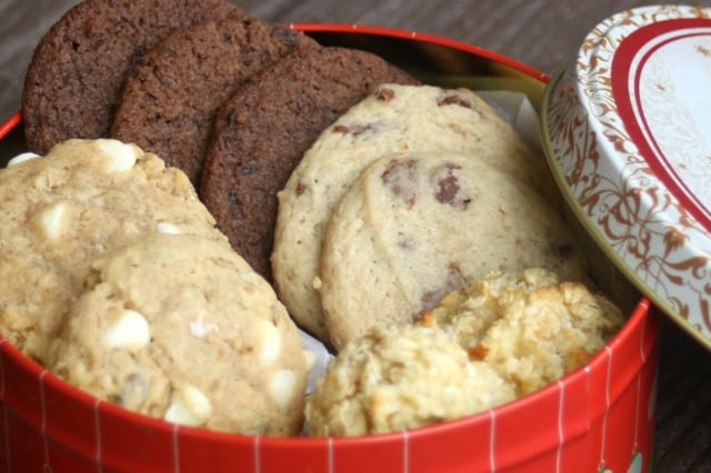 A tin of homemade cookies.