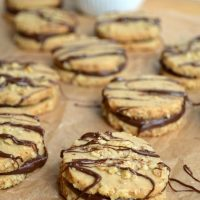 Espresso Walnut Shortbread Cookies with Dark Chocolate Ganache