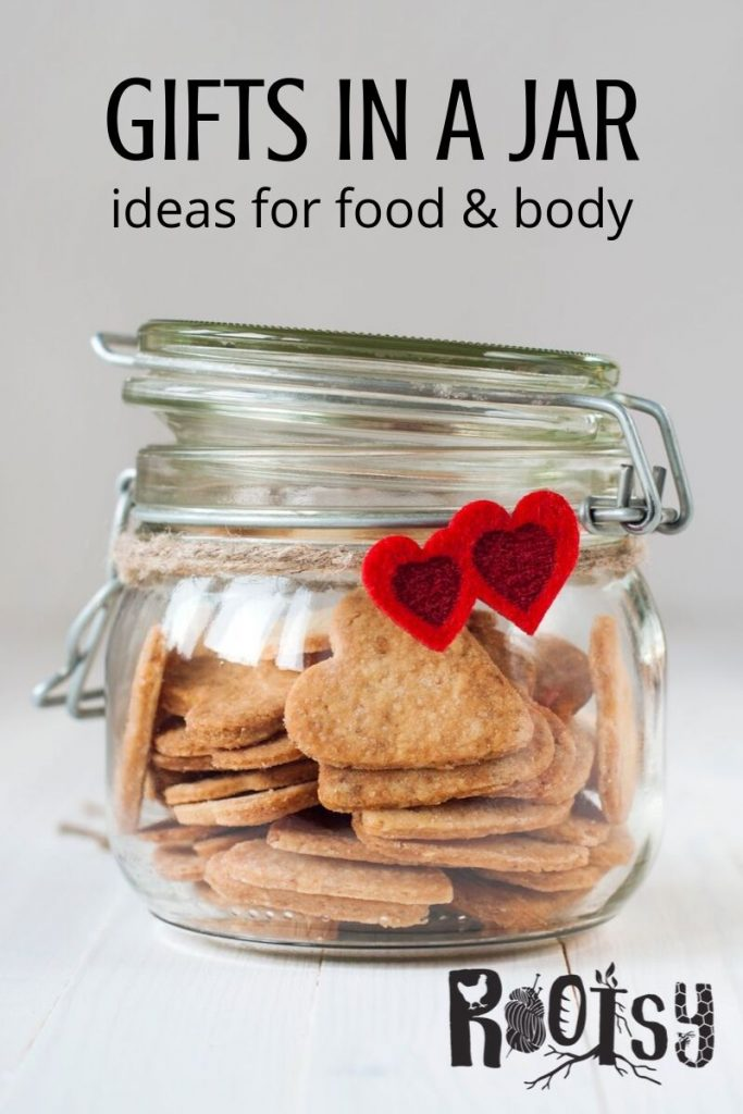 A jar of homemade crackers wrapped with twine and felt hearts with text overlay.