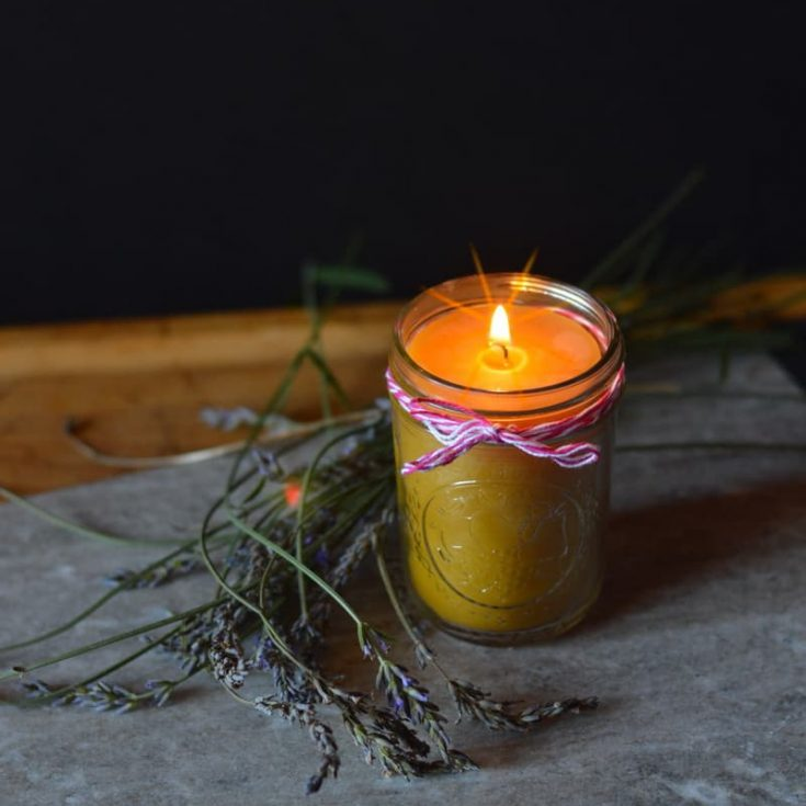 Beeswax candle in a mason jar sitting on a rock surrounded by herbs.