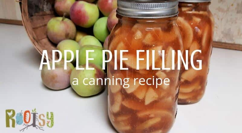 2 jars of canned apple pie filling in front of a basket of fresh apples with text overlay.