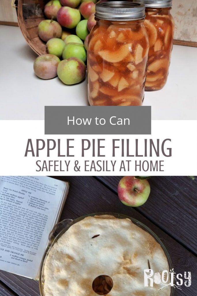 A collage of photos with canned apple pie filling and fresh apples on top and a baked apple pie on the bottom with a text overlay in the middle.