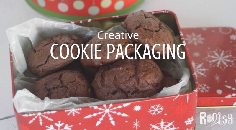 chocolate cookies in a red tin with white snowflakes and text overlay.