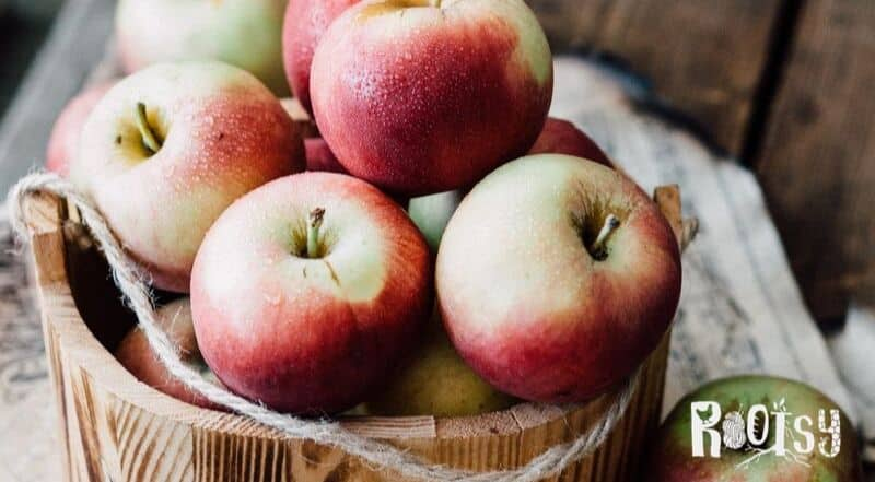 fresh apples in a wooden basket.