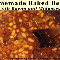 Homemade Baked Beans Slow Cooked with Bacon and Molasses