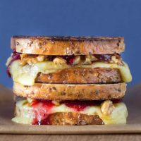 Grilled cheese sandwich with orange and honey walnuts