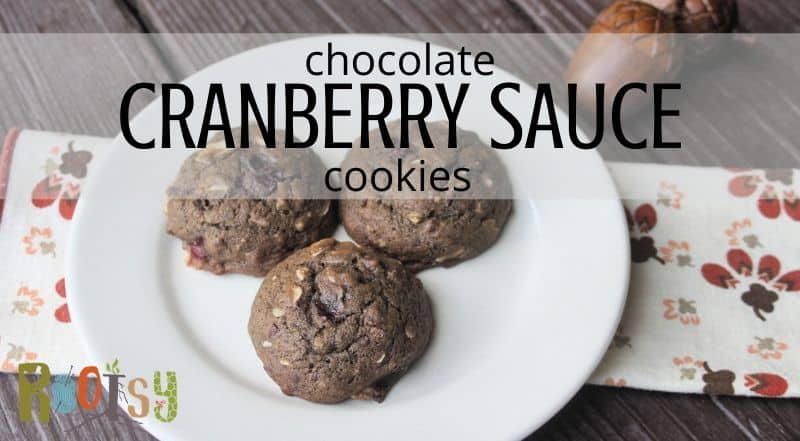 Chocolate cranberry sauce cookies on a plate with a napkin and text overlay.