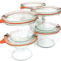 Weck 741 - 0.25 Liter Mold Jars with Lids - 6 Rings and 12 Clamps