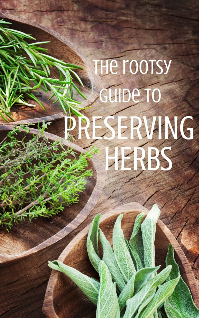 Bowls of herbs on a table with text overlay.
