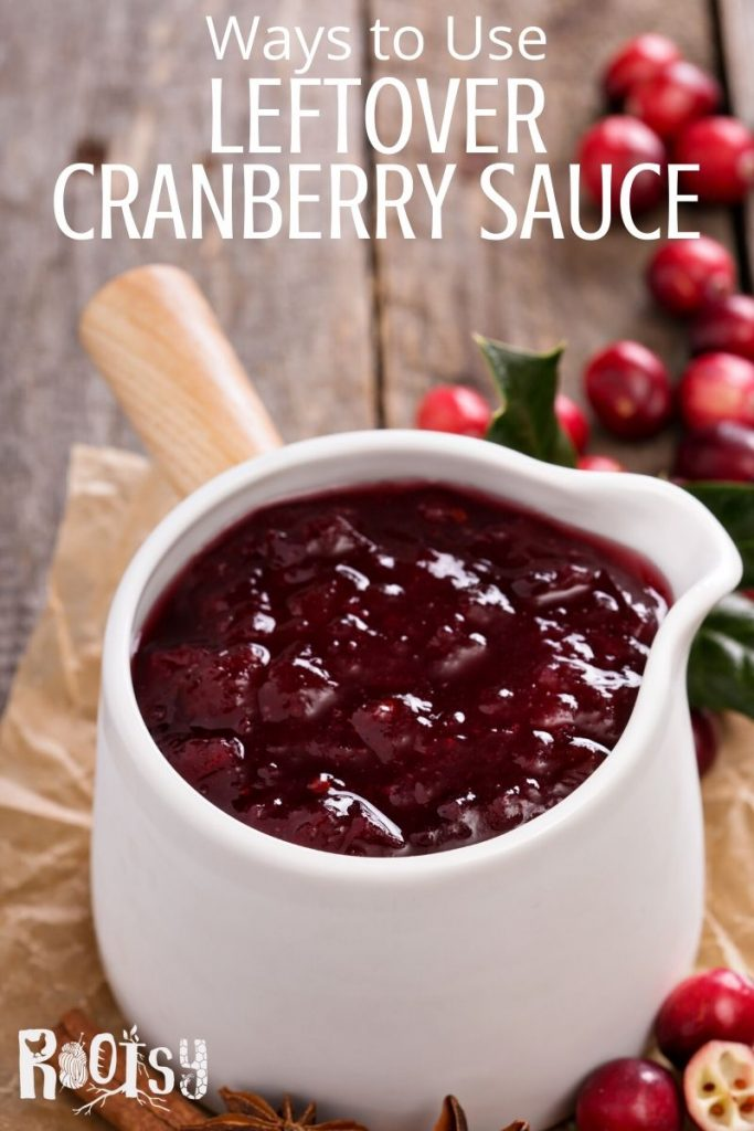 A ceramic pot with cranberry sauce and text overlay.