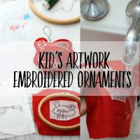 How to turn kids artwork into an embroidered ornament