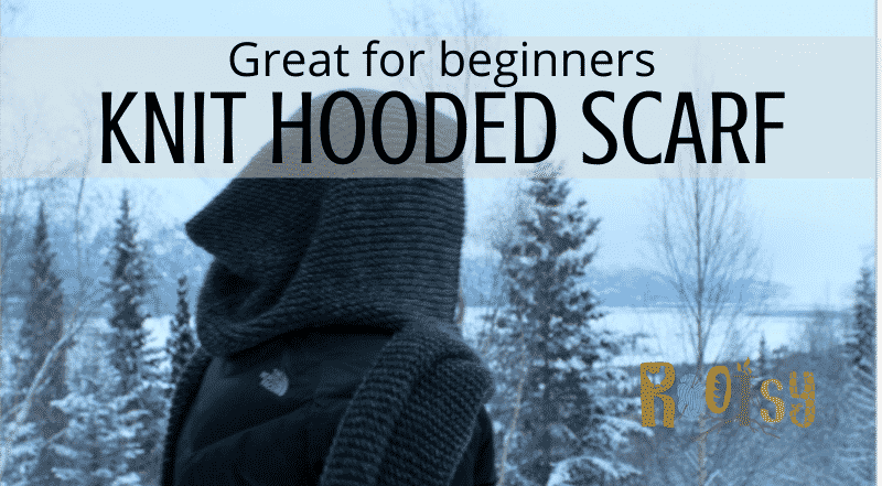 DIY Knit Hooded Scarf with Free Pattern
