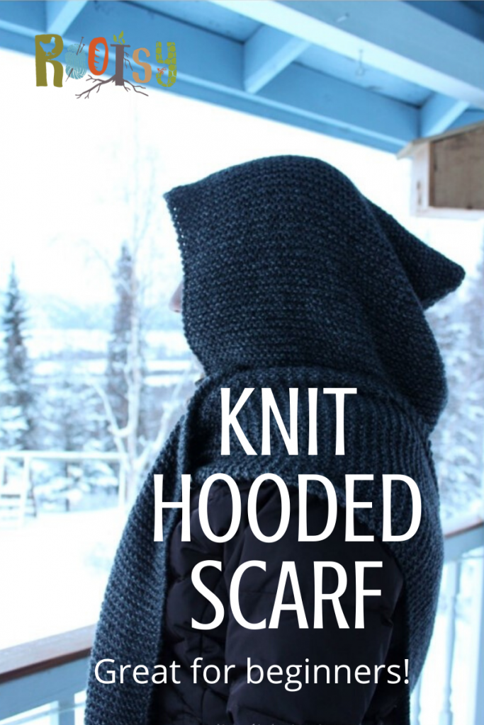 DIY Knit Hooded Scarf with Free Pattern!