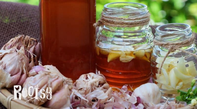 image of garlic cloves and jars of honey with garlic in them. Honey is a natural food preservative.