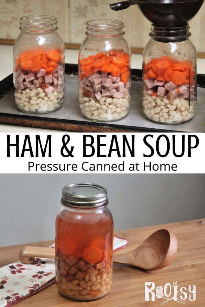 A collage of stacked photos with jars being filled with beans, ham and carrots on top, text overlay in the middle, and a finished jar of ham and bean soup with a wood ladle on a table.