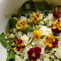 Green Pasta Salad with Edible Flowers – The Pasta Project