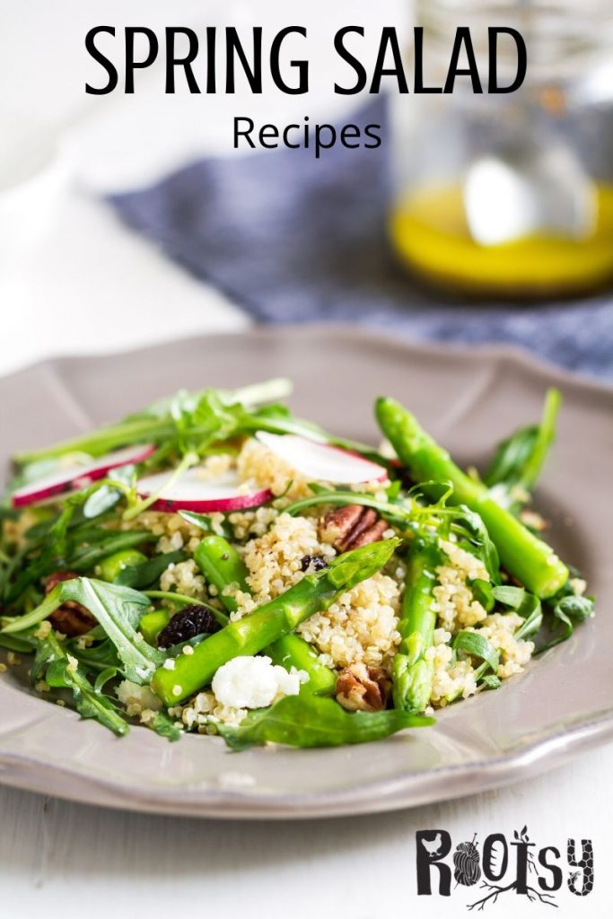A bowl of salad with quinoa, asparagus, and radishes with text overlay.