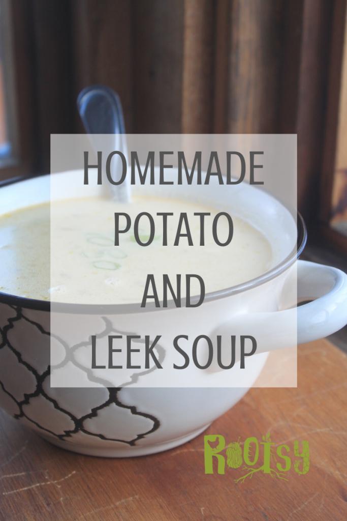 Homemade Potato Leek Soup in white tureen with a black rim