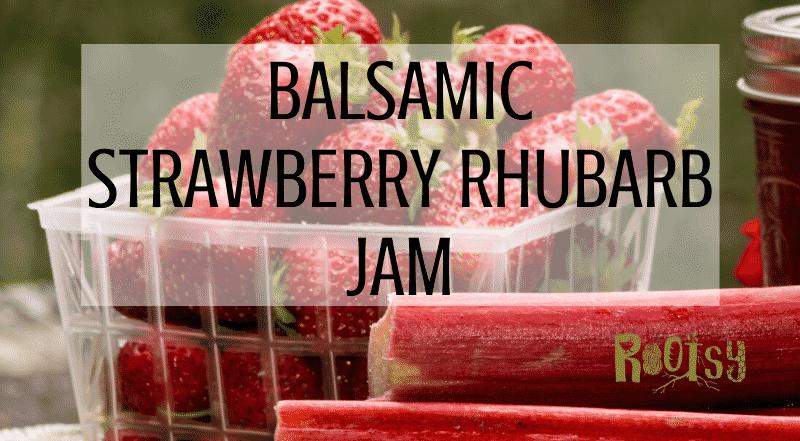 basket of strawberries and rhubarb stalks for making strawberry rhubarb jam