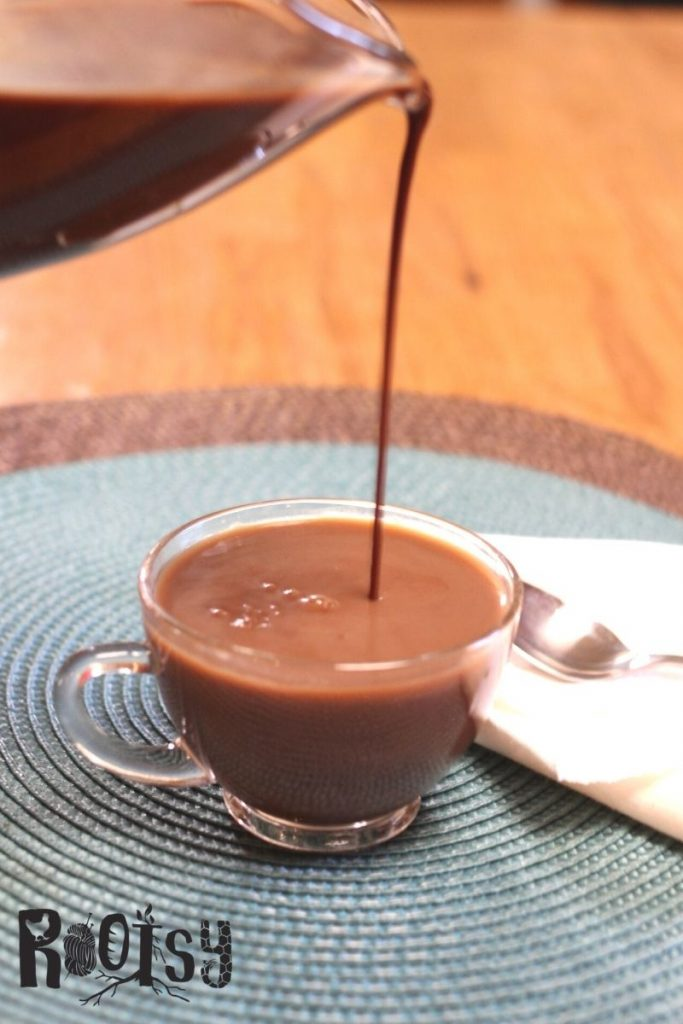 chocolate simple syrup poured into coffee