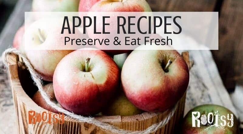 A wooden basket full of fresh apples with text overlay.