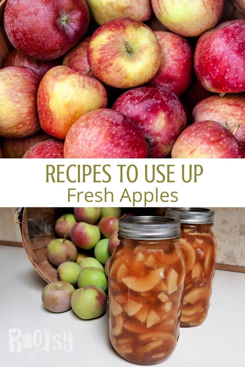 A pile of fresh apples, jars of apple pie filling, and text overlay between the two photos.