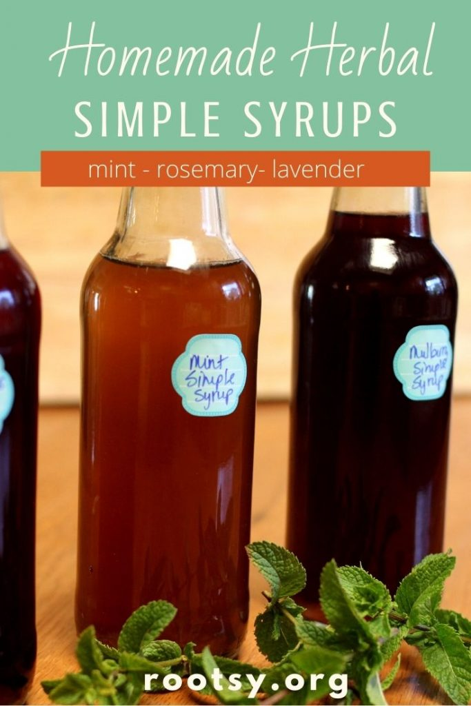 three herbal simple syrups with mints springs in front.